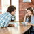 young couple enjoying coffee in cafeteria stock photo © deandrobot