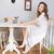 wesoły · kobieta · długie · włosy · posiedzenia · Kafejka - zdjęcia stock © deandrobot