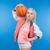 счастливым · женщину · баскетбол · мяча - Сток-фото © deandrobot
