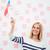 dziewczyna · USA · banderą · uśmiechnięty · patriotyczny - zdjęcia stock © deandrobot