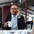 zakenman · luisteren · muziek · vergadering · bank · mobieltje - stockfoto © deandrobot