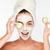 femme · masque · concombre · tranches · mains · blanche - photo stock © deandrobot