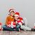 kislány · mikulás · kalap · ül · ajándékdobozok · portré - stock fotó © deandrobot