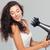 glimlachend · jonge · vrouw · portret · haren · grijs · vrouw - stockfoto © deandrobot