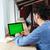 férfi · laptopot · használ · számítógép · képernyő · iroda · üzlet - stock fotó © deandrobot