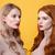 gyönyörű · kettő · hölgyek · fényes · smink · ajkak - stock fotó © deandrobot