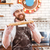 улыбаясь · Бейкер · глядя · камеры · кухне · хлебобулочные - Сток-фото © deandrobot