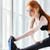 close up portrait of a fitness girl doing stretching exercises stock photo © deandrobot