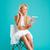 mooie · blonde · vrouw · vergadering · stoel · roze · meisje - stockfoto © deandrobot