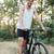 tam · uzunlukta · bisikletçi · orman · yol · bakıyor · kamera - stok fotoğraf © deandrobot
