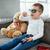 fiú · visel · 3d · szemüveg · arc · televízió · gyermek - stock fotó © deandrobot