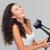 lachend · vrouw · haren · portret · grijs · model - stockfoto © deandrobot