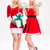 two sisters twins in santa claus dresses and hats stock photo © deandrobot