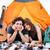 famiglia · felice · camping · spiaggia · felice · giovani · famiglia - foto d'archivio © deandrobot