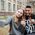 young teenagers couple taking selfie outdoors at the city campus stock photo © deandrobot