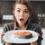 megrémült · nő · áll · konyha · főzés · hal - stock fotó © deandrobot