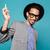 afrikai · férfi · fejhallgató · fickó · visel · zenét · hallgat - stock fotó © deandrobot