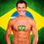 szczęśliwy · fan · Brazylia · banderą · uśmiech · piłka · nożna - zdjęcia stock © deandrobot