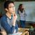 jóképű · fiatal · ázsiai · üzletember · gondolkodik · közelkép - stock fotó © deandrobot