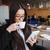 üzletasszony · küldés · szöveges · üzenet · iszik · kávé · fiatal - stock fotó © deandrobot