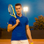 male tennis player standing with racket stock photo © deandrobot