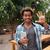 alegre · africano · homem · comprimido · sessão · banco - foto stock © deandrobot