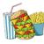 gyorsételek · hamburger · ital · sültkrumpli · rajz · rajz - stock fotó © dece