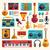 hangszerek · ikonok · különböző · gitár · háló · rajz - stock fotó © decorwithme