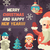 merry christmas and happy new year flat design card illistration stock photo © decorwithme