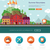 summer vacation traveling website template with header and icons stock photo © decorwithme