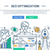 illustration of modern seo optimization line flat design composition and infographics elements with stock photo © decorwithme