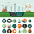 flat design ecological icons with header and infographics elements stock photo © decorwithme
