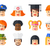 set of isolated flat design people icon avatars for social netwo stock photo © decorwithme