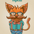 illustration of cartoon hipster style cat stock photo © decorwithme