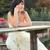 девушки · подвенечное · платье · сидят · скамейке · аккуратный · таблице - Сток-фото © dedmorozz