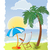 palm tree on the sea beach with umbrella and chair stock photo © denisgo