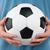 férfi · klasszikus · futballabda · áll · izolált · fehér - stock fotó © DenisNata