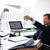 vervelen · werknemer · papieren · vliegtuig · kantoor - stockfoto © diego_cervo