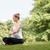 hermosa · mujer · embarazada · relajante · parque · yoga · hierba - foto stock © diego_cervo