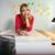 kobiet · praca · domowa · młodych · zewnątrz · stołówka - zdjęcia stock © diego_cervo