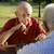 active retired people two senior men playing chess at park stock photo © diego_cervo