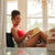 jonge · glimlachende · vrouw · sofa · lezing · boek · home - stockfoto © diego_cervo