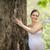 expectante · mulher · parque · retrato · feliz · sorridente - foto stock © diego_cervo