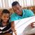 アフリカ系アメリカ人 · 少年 · 見える · 父 · 幸せ · ベッド - ストックフォト © diego_cervo