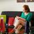 lány · bevásárlótáskák · kanapé · otthon · fiatal · nő - stock fotó © diego_cervo