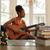 czarnej · kobiety · śpiewu · gry · gitara · domu · czarny - zdjęcia stock © diego_cervo