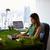 小さな · ビジネス女性 · 作業 · タブレット · 女性 · セクシー - ストックフォト © diego_cervo
