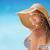 retrato · mulher · chapéu · de · palha · praia · sorridente · jovem - foto stock © diego_cervo