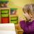 femenino · nino · comer · verde · manzana · kindergarten - foto stock © diego_cervo