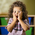 Worried child with mouth open in kindergarten stock photo © diego_cervo